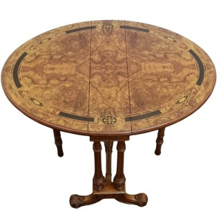 VICTORIAN BURR WALNUT MINI SUTHERLAND TABLE