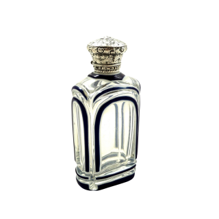 Antique Victorian Silver & Blue Overlay Scent / Perfume Bottle c1890