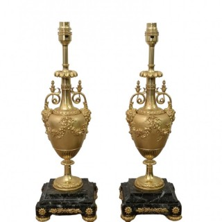 PAIR OF 19TH CENTURY FRENCH GILT BRONZE TABLE LAMPS