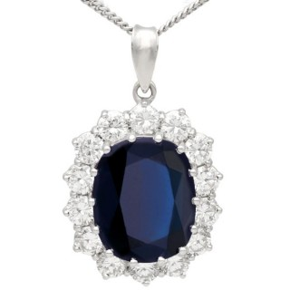7.83 ct Sapphire and 1.68 ct Diamond, 18 ct White Gold Cluster Pendant - Vintage Circa 1970
