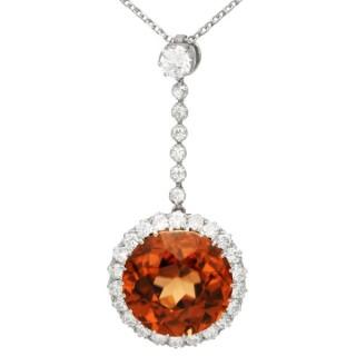 12.69ct Zircon and 1.04ct Diamond, Palladium Necklace - Antique Circa 1910