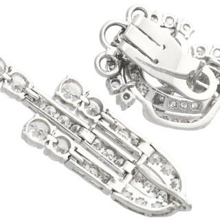 6.70ct Diamond and Platinum Drop Earrings - Art Deco - Vintage Circa 1940