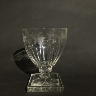 A Regency period  ale glass with engraved hops and barley,