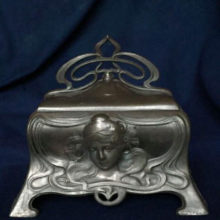 A  Continental Art Nouveau period  pewter jewellery casket