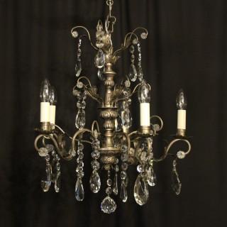 Italian Silver & Crystal Genoa 5 Light Chandelier