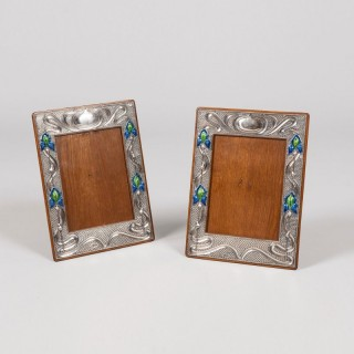 A Pair of Silver Photograph Frames of the Art Nouveau Period