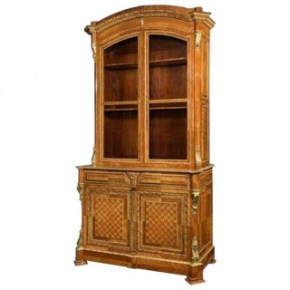 Antique tulipwood bureau bookcase