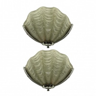 A PAIR OF GLASS SHELL WALL LIGHTS