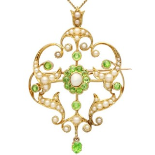 1.19 ct Demantoid Garnet and Seed Pearl, 15 ct Yellow Gold Pendant / Brooch - Antique Circa 1890