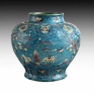 A Large Chinese Fahua Turquoise Ground Baluster Jar, Ming Dynasty