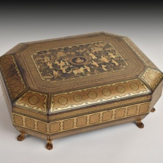 A Fine Chinese Gilt Lacquer Armorial Games Box, Early 19th Century