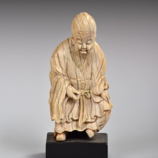 A Rare Chinese Ivory Figure of Shoulao, late Ming Dynasty