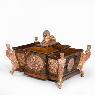 A large ornamental casket made from the oak and copper of HMS Foudroyant, Nelson's flagship 1799-1801