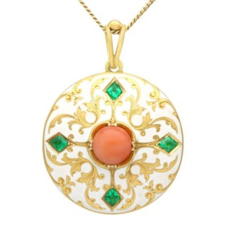 0.55ct Emerald, Coral and Enamel, 18 ct Yellow Gold Locket - Antique Victorian (Circa 1880)
