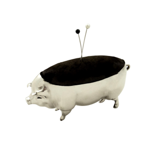 Large Antique Edwardian Sterling Silver Pig Pin Cushion 1903