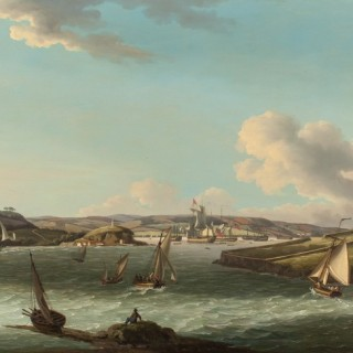 John Thomas Serres - A frigate returning to Plymouth with a Squadron of the red at anchor behind