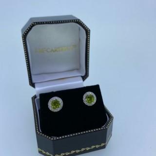 14ct white gold Peridot & Diamond Cluster earrings