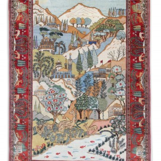 Antique Pictorial Persian Carpet Rug 216x136cm