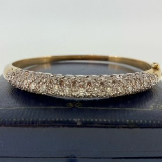 14ct gold pave set Diamond bangle