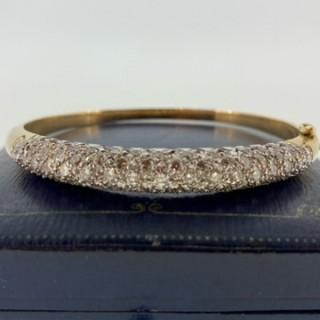 14ct gold pave set Diamond bangle