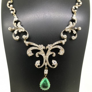 Nineteenth Century Diamond and Emerald Necklace