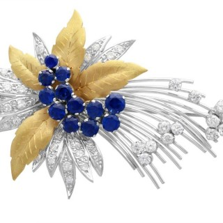1.60ct Sapphire and 1.12ct Diamond, 18ct Yellow Gold Spray Brooch - Vintage 1991