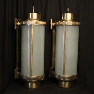 English Bronze Art Deco External Wall Lanterns