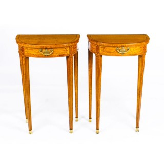 Antique Pair Adam Revival Demilune Satinwood Side Console Tables 19th C