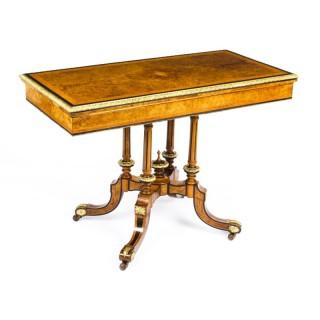 Antique Victorian Burr Walnut & Ebonised Card Table Holland & Sons 19th Century