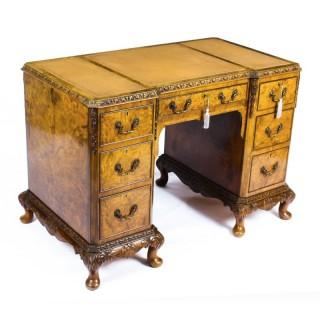 Antique Edwardian Burr Walnut Pedestal Desk Circa 1900