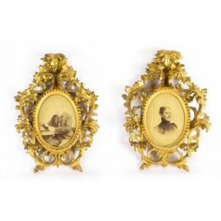 Antique Pair Gilt Wood Florentine Rococo Picture Frame C1870 19th C
