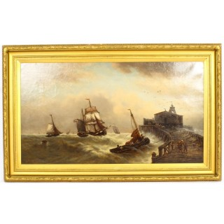 Antique Stormy Seascape Painting by David Horatio Winder 1926