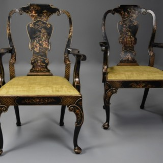 Superb pair of late 19th century George II style Japanned armchairs of large proportions