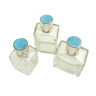 Set of 3 Antique Sterling Silver & Blue Enamel Vanity Jars 1935