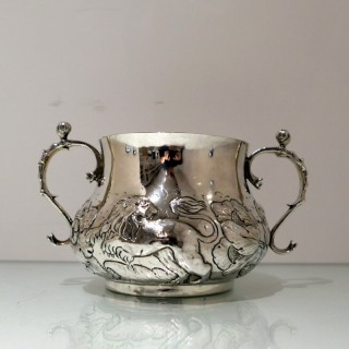 Antique Charles II Large Silver Porringer London 1662 John Burges