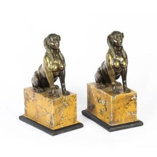 Antique Pair Empire Egyptian Campaign Bronze Sphinxes C1820 19th C