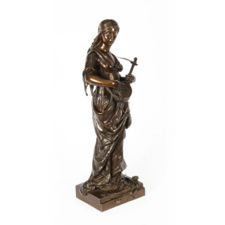 Antique 2ft Bronze Maiden Playing a Lute, by Albert Ernst Carrier 19th C