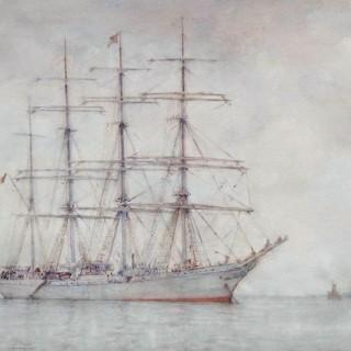 Four-masted Cadet Ship L'Avenir at Anchor off Falmouth, 1926