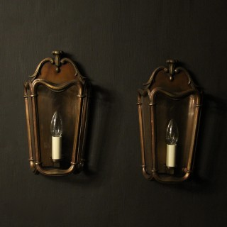 French Bronze Single Light Antique Wall Lanterns