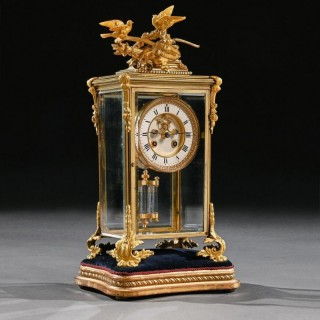 French 8 Day Striking Four Glass Ormolu Clock By Samuel Marti Paris, 19Th Century