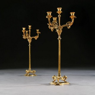 Elegant Pair Of 19th Century Gilt Brass Candelabra By Elkington & Co