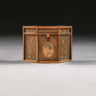 18th Century Georgian Paper Scrolled Quilled Satinwood Tea Caddy
