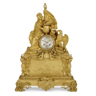 Large gilt bronze mantel clock commemorating Napoleon