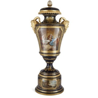 Gilt bronze mounted porcelain vase in the manner of Sèvres