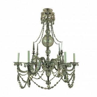 A FINE ENGLISH GEORGE III CUT GLASS CHANDELIER
