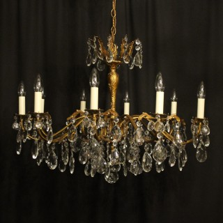 Italian Gilded Brass 10 Light Antique Chandelier