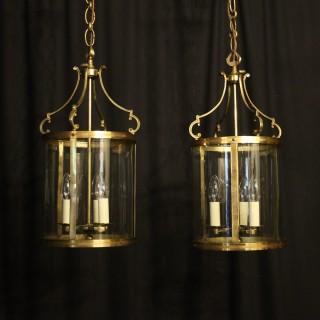 French Pair Convex Triple Light Antique Lanterns