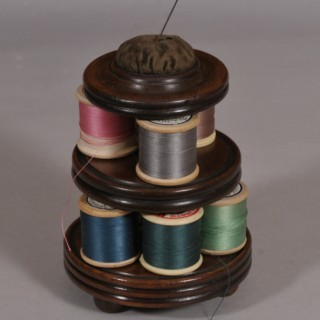 Antique Treen 19th Century Mahogany Cotton Reel and Pin Cushion Stand
