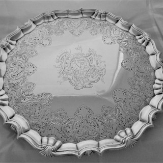 Super quality armorial George II silver flat chased salver London 1751 William Peaston