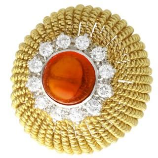 2.48 ct Hessonite Garnet and 1.02 ct Diamond, 18 ct Yellow Gold Dress Ring - Vintage Circa 1950